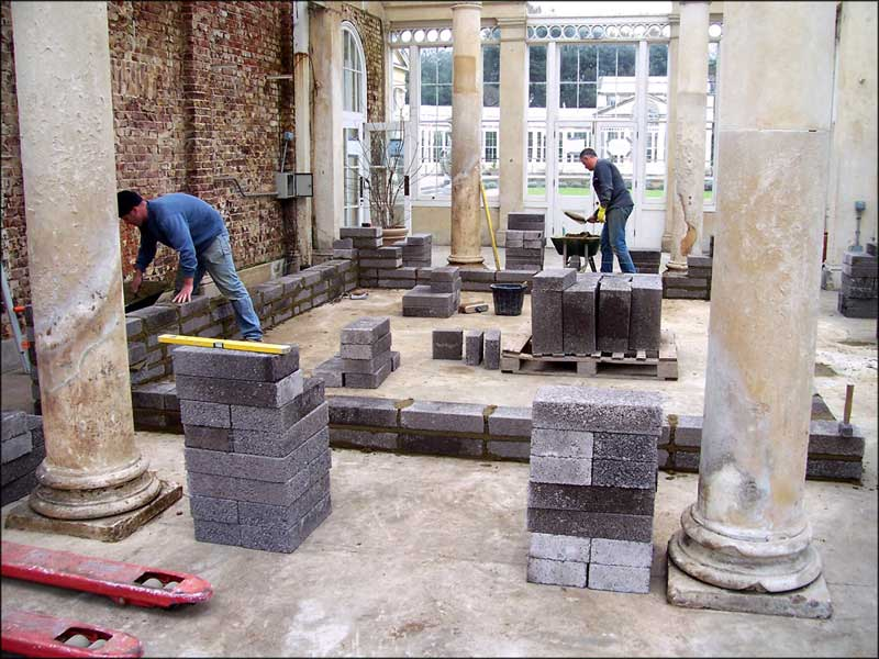 Conservatory pond in construction.