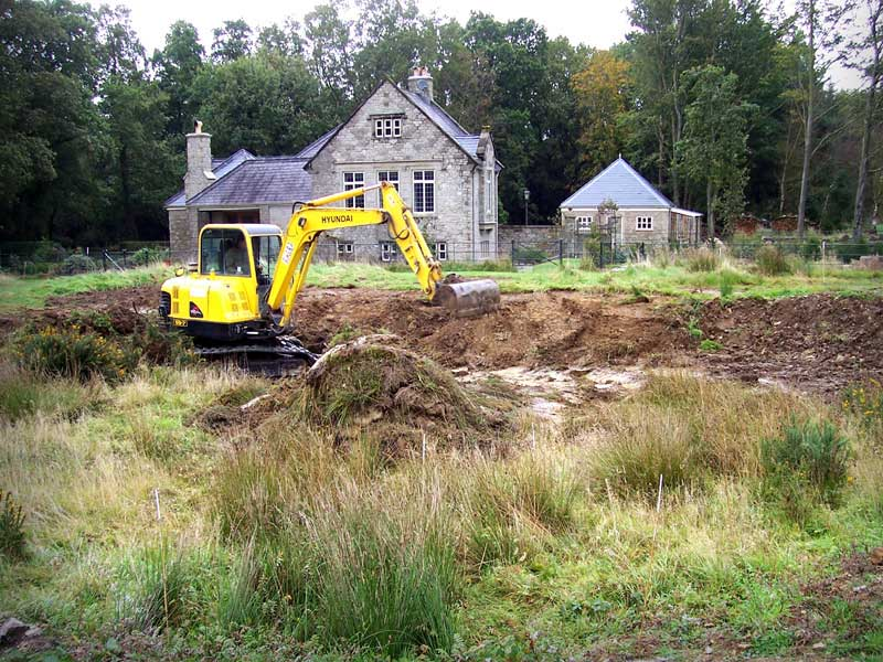 Pond during construction, Wiltshire.