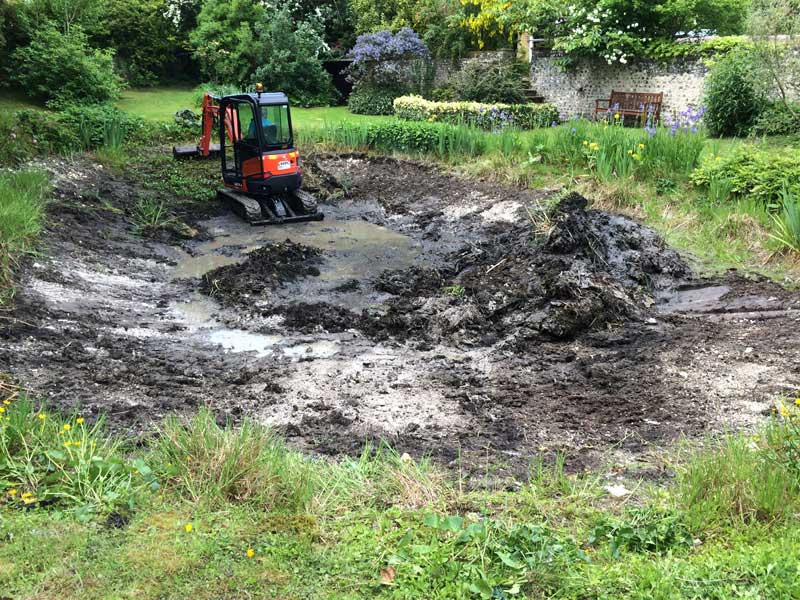 Leaking pond restoration, Hants.