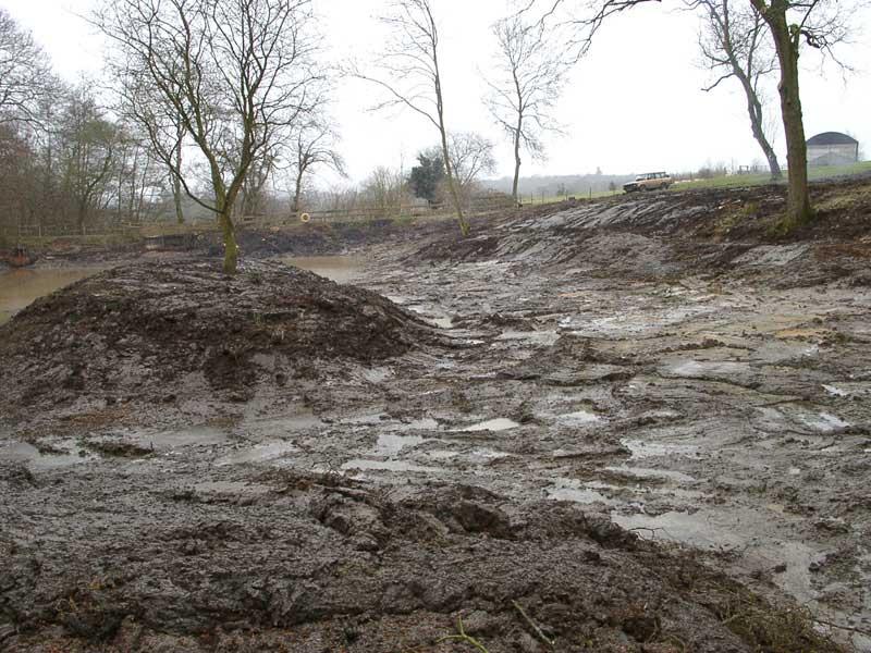 De-silting pond near Newbury.