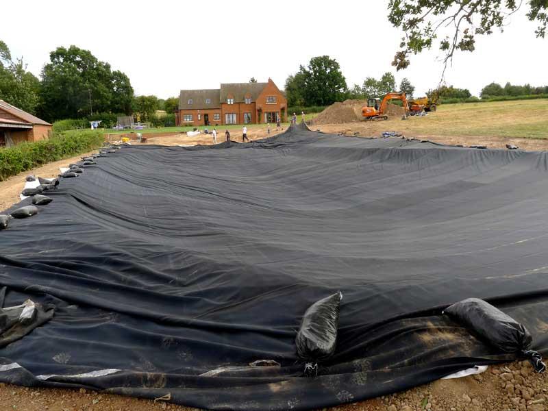 Pond liner installation, Warwick.