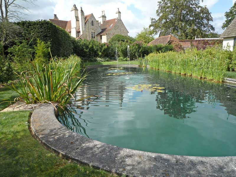 Swimming pool conversion to a pond, Hampshire